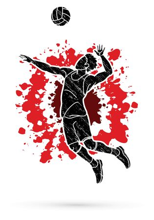 Man volleyball player action cartoon graphic vector