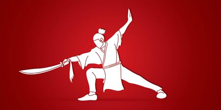 Kung Fu, Wushu with sword pose cartoon graphic vector