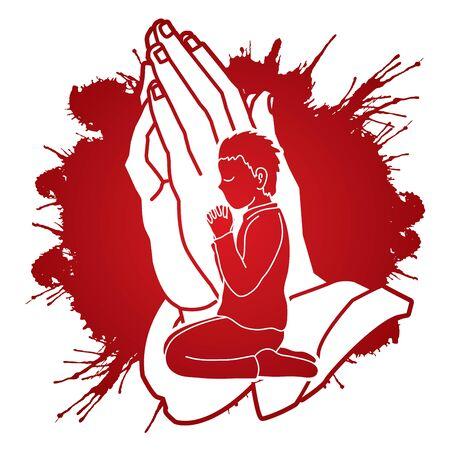 Boy Praise God, Prayer, Christian praying, Thank you GOD graphic vector