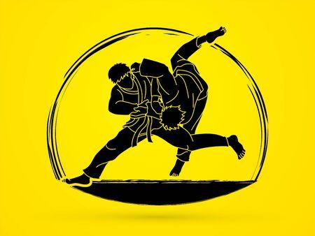 Judo sport action cartoon graphic vector. Ilustracja