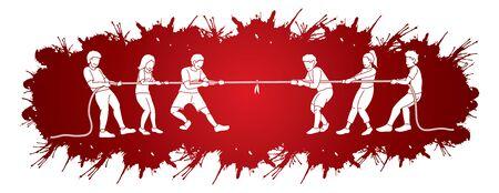 Children playing tug of war cartoon graphic vector