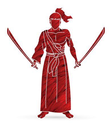 Samurai warrior standing with swords cartoon graphic vector.