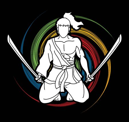 Samurai warrior sitting with swords cartoon graphic vector.