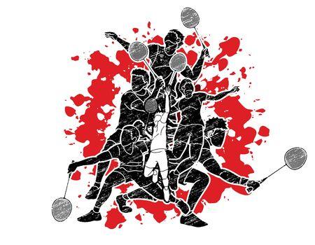 Badminton players cartoon sport graphic vector.