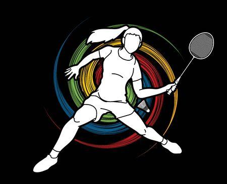 Vecteur graphique de dessin animé d'action de joueur de badminton.
