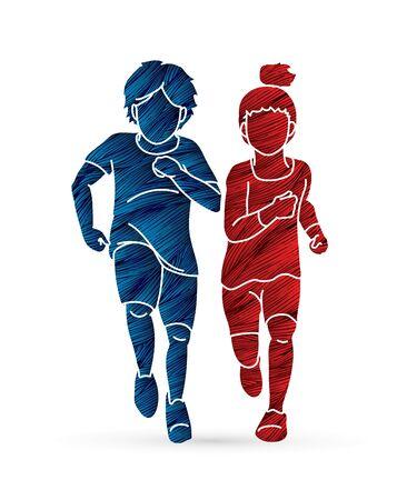 Boy and Girl running together, Children running cartoon graphic vector Illustration