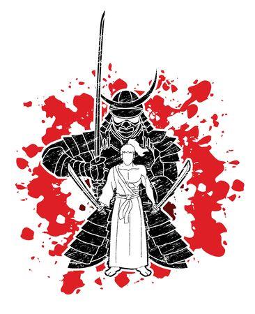 Samurai warriors with swords action cartoon graphic vector. Иллюстрация