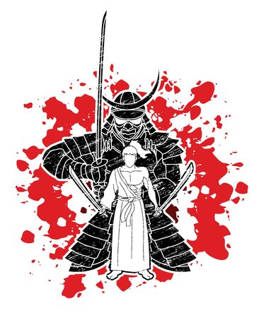Samurai warriors with swords action cartoon graphic vector. Ilustracja