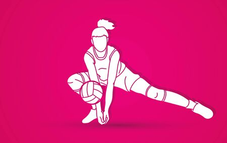 Volleyball player action cartoon graphic vector.