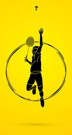 Badminton player action cartoon graphic vector.