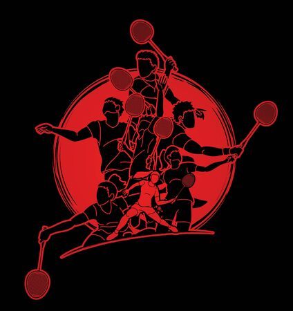 Group of Badminton players action cartoon graphic vector. Illustration