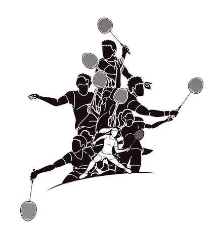 Group of Badminton players action cartoon graphic vector. Ilustrace