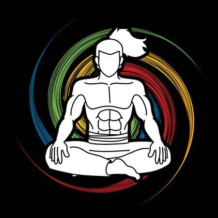 Samurai composition cartoon graphic vector