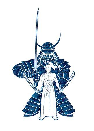 Samurai composition with swords cartoon graphic vector