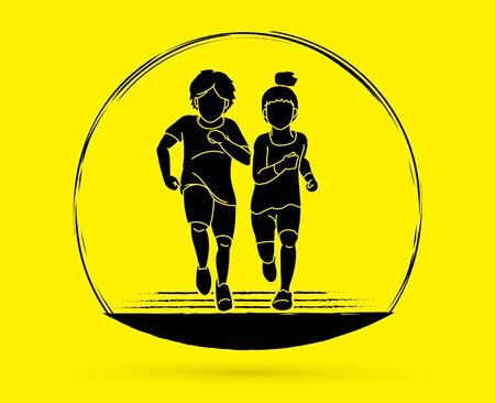 Boy and Girl running together, Children running cartoon graphic vector Illustration