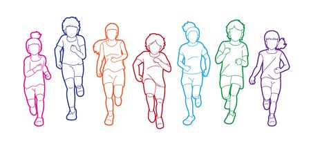 Group of Children running together cartoon graphic vector