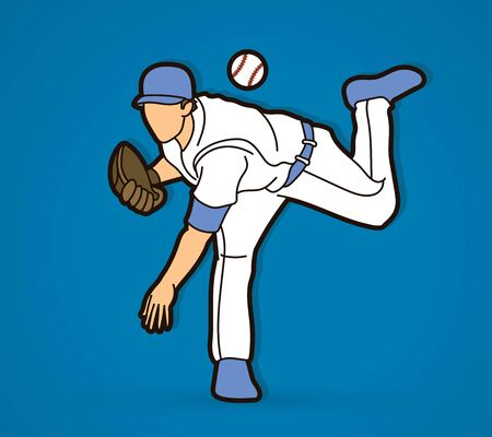 Baseball player action cartoon graphic vector.