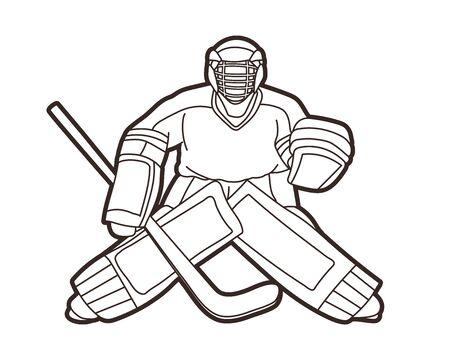 Ice Hockey Goalie, sport player cartoon action graphic vector.