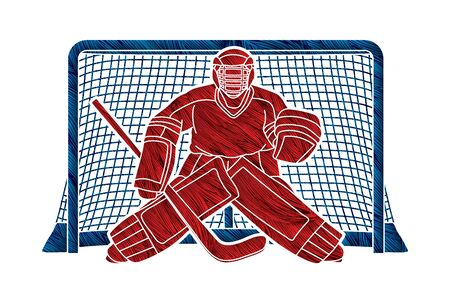 Portero de hockey sobre hielo, vector gráfico de acción de dibujos animados de jugador de deporte.