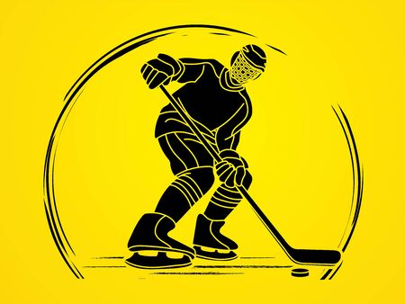 Ice Hockey, sport player cartoon action graphic vector. Ilustração