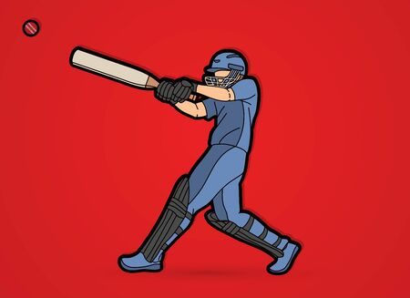 Cricket batsman sport player action cartoon graphic vector