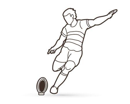 Rugby player action, cartoon sport graphic vector Ilustração