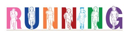 Group of Children running, Running text font design, kids run together cartoon graphic vector.