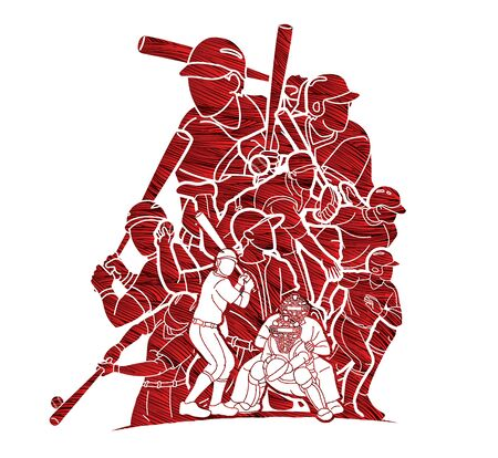 Baseball players action cartoon sport graphic vector