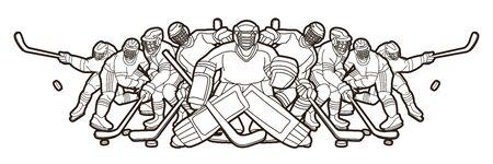 Ice Hockey players action cartoon sport graphic vector.
