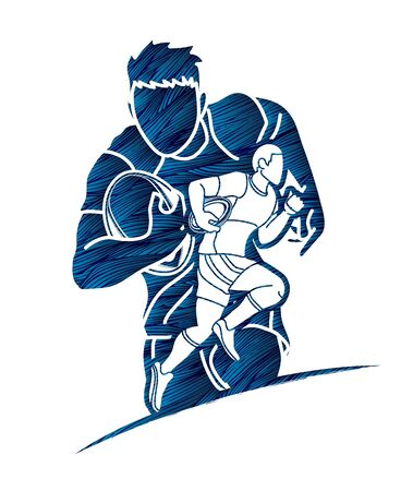 Rugby players cartoon sport graphic vector