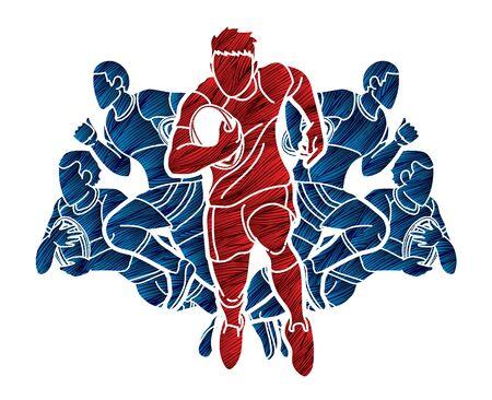 Vecteur graphique de sport de dessin animé de joueurs de rugby