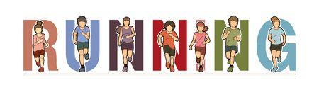Group of Children running, Running text font design, kids run together cartoon graphic vector. Archivio Fotografico - 134718759