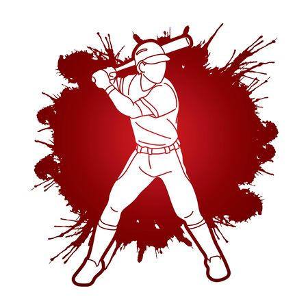 Baseball player action cartoon sport graphic vector. Illustration