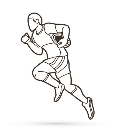 Rugby player action cartoon sport graphic vector.
