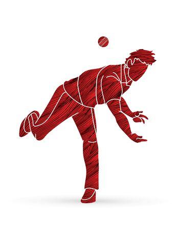Cricket player action cartoon sport graphic vector. Ilustração