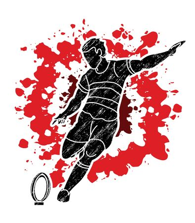 Rugby player action cartoon sport, Sportsman graphic vector.