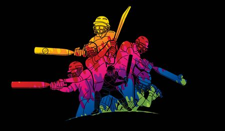Group of Cricket players action cartoon sport graphic vector. Vector Illustration