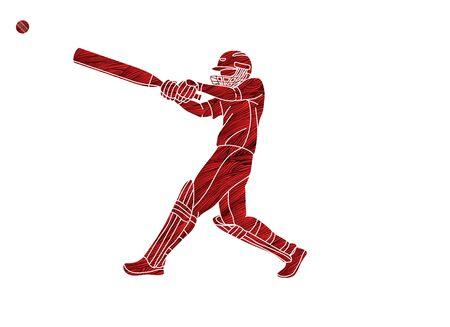 Vettore grafico di sport del fumetto di azione del giocatore di cricket Vettoriali
