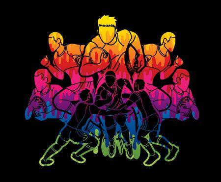 Groupe de joueurs de rugby vecteur graphique de dessin animé d'action.
