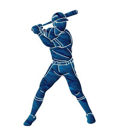 Baseball player action cartoon graphic vector.