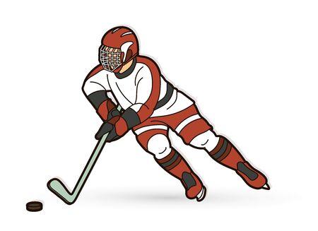 Ice Hockey player action cartoon sport graphic vector Stock Illustratie