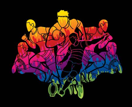Group of Rugby players action cartoon sport graphic vector.