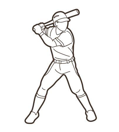 Vector gráfico de deporte de dibujos animados de acción de jugador de béisbol. Ilustración de vector