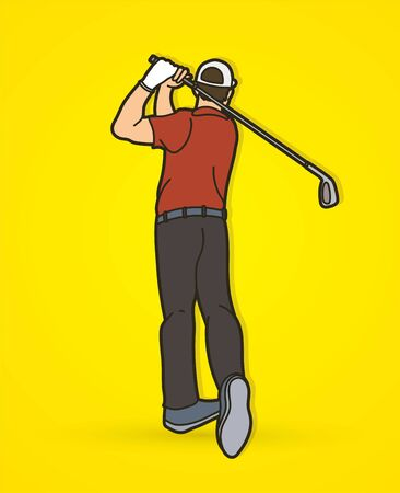 Golf player action cartoon sport graphic vector.