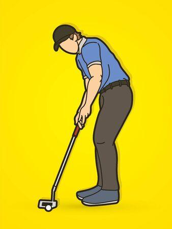 Golf player action cartoon sport graphic vector.
