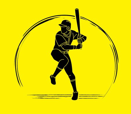Baseball player action cartoon sport graphic vector. 向量圖像
