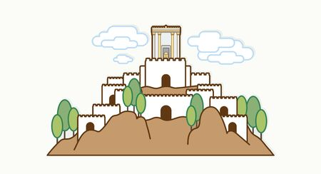 Jerusalem Israel, Temple at old city Israel cartoon graphic vector.