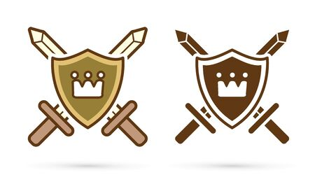 Kingdom icon,Crown on shield with swords sign cartoon graphic vector