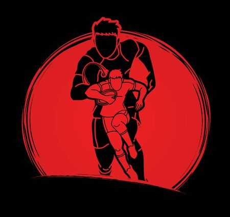Group of Rugby players action cartoon sport graphic vector