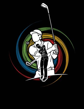 Golf players action cartoon sport graphic vector.